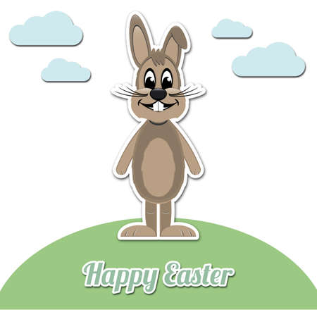 happy easter brown cartoon bunny white background Vector