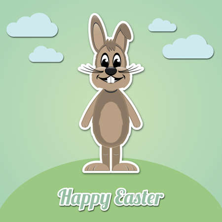 happy easter brown cartoon bunny green background Vector