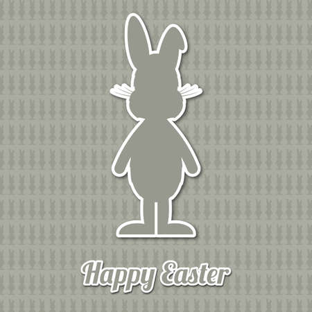 happy easter type brown cartoon bunny background Vector