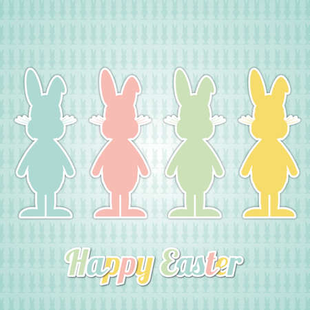 four happy easter bunny colorful blue background Stock Vector - 17756965