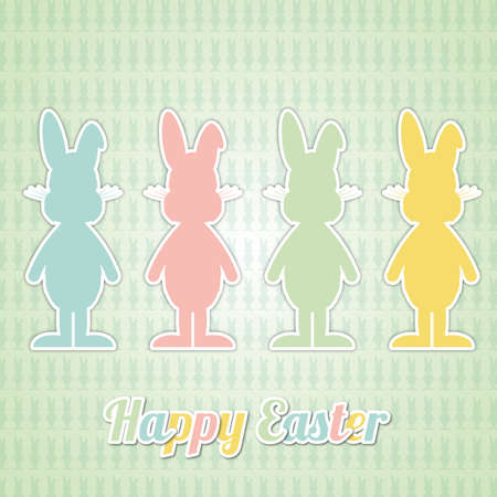 four happy easter bunny colorful green background Vector