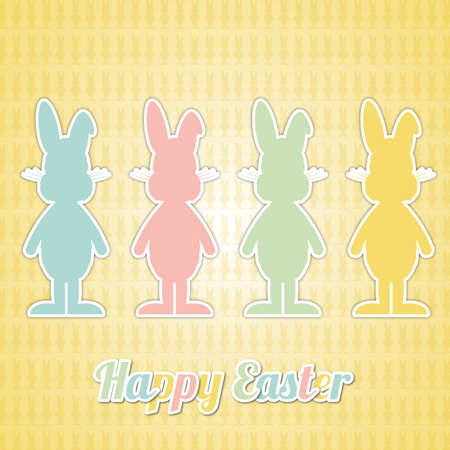 four happy easter bunny colorful yellow background Vector