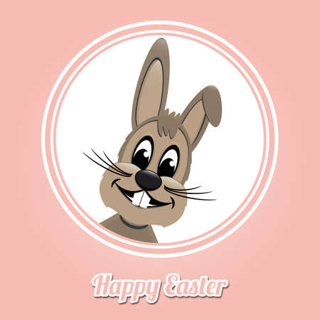 happy easter brown bunny on pink background Vector