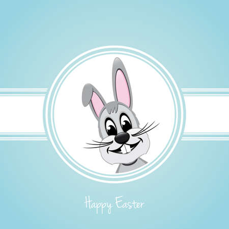 rabbit ears: happy easter gray bunny on blue background Illustration
