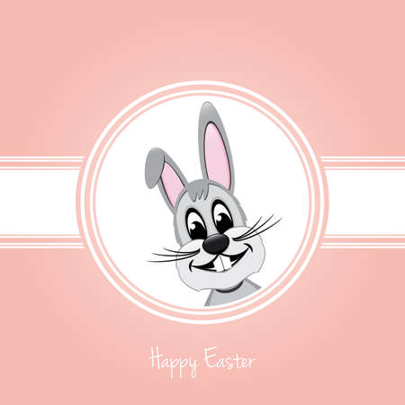 happy easter gray bunny on pink background Vector