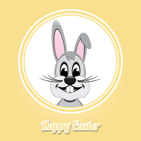 happy easter gray bunny on yellow background Vector