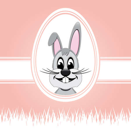 happy easter bunny white egg pink background Stock Vector - 17757020