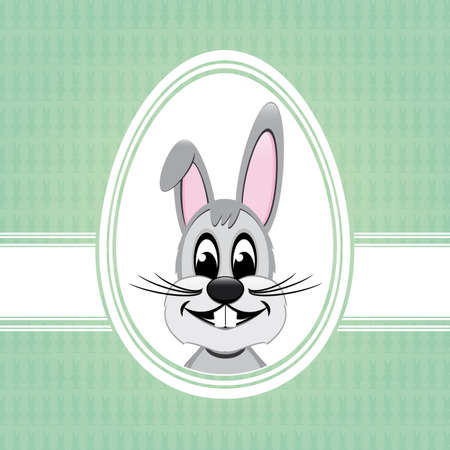 happy easter bunny white egg green background Stock Vector - 17757026