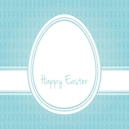 outline blue: happy easter egg white blue bunny background
