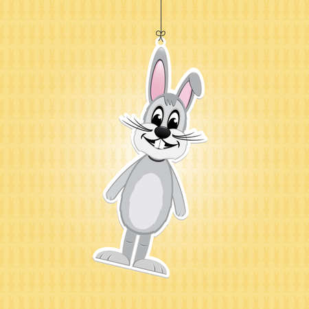 ahorcada: Feliz Pascua conejito gris fondo de la etiqueta amarilla Vectores