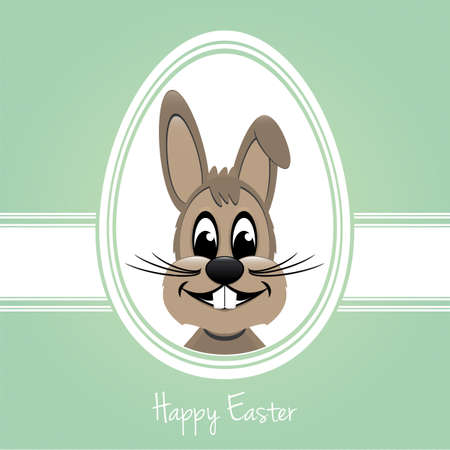 happy easter bunny white egg green background Stock Vector - 17757163
