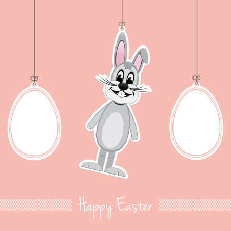 happy easter gray bunny eggs pink background Vector