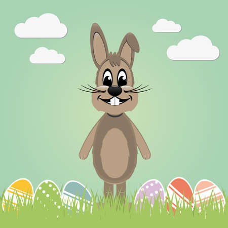 brown easter bunny lawn and colorful eggs Vector
