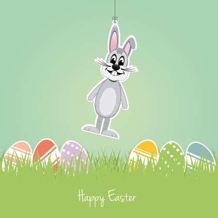 happy easter gray bunny colorful eggs grass Vector