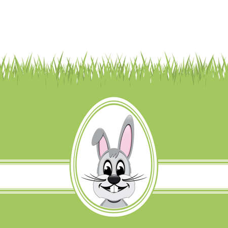 happy easter bunny white egg green grass Vector