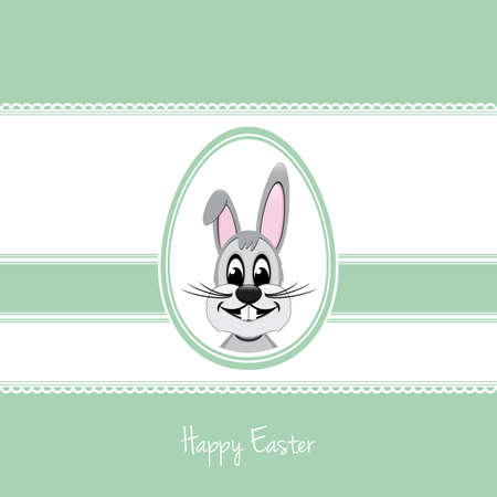 stipe: happy easter bunny white egg green background