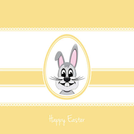 happy easter bunny white egg yellow background Vector