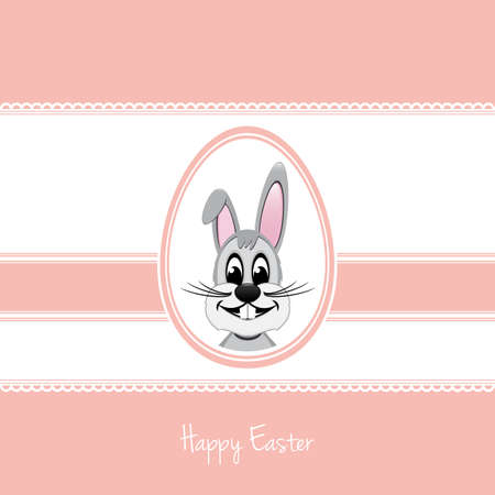 happy easter bunny white egg pink background Vector