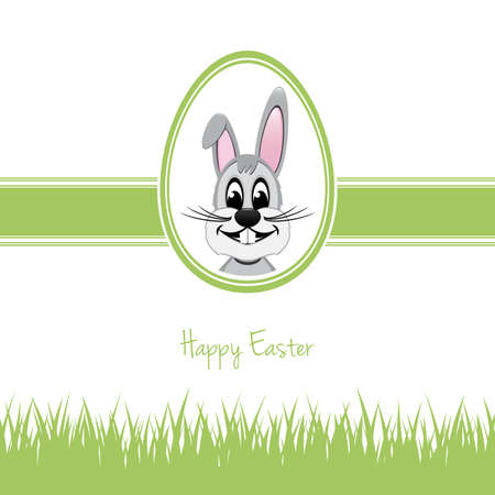 happy easter bunny white egg grass green Vector