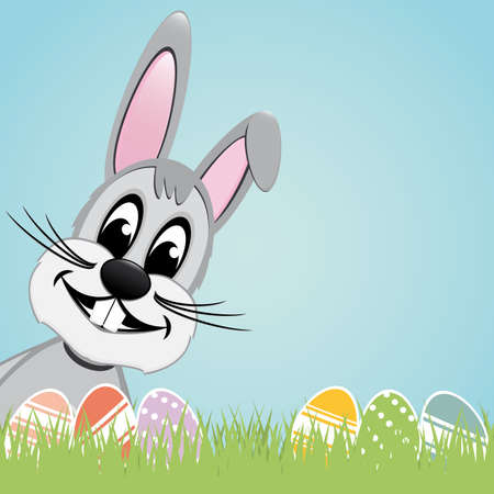 gray easter bunny lawn and colorful eggs Vector