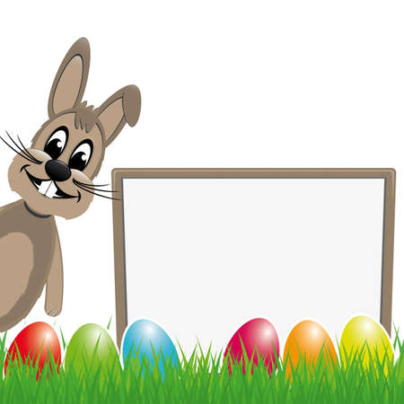 rabbit ears: easter bunny behind signboard colorful eggs Illustration