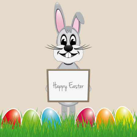 easter bunny hold signboard colorful eggs Vector