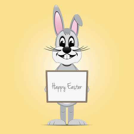 gray easter bunny hold signboard yellow background Vector