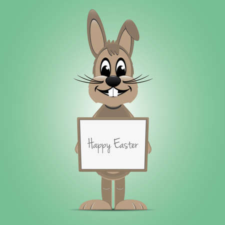 brown easter bunny hold signboard green background Vector
