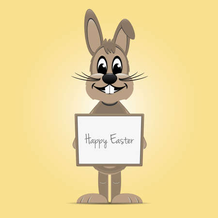 brown easter bunny hold signboard yellow background Vector