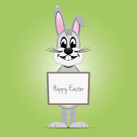 easter bunny hold signboard green background Vector