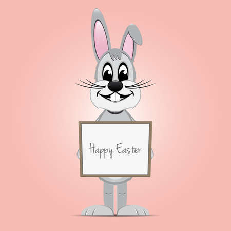 easter bunny hold signboard pink background Vector