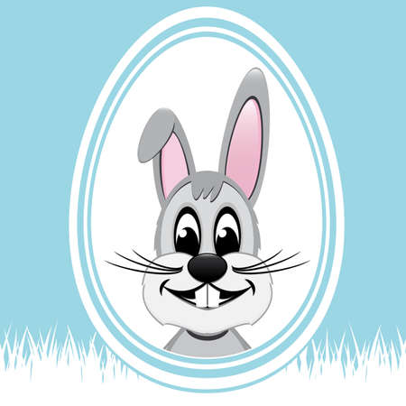 bunny ears: happy easter bunny white egg blue background