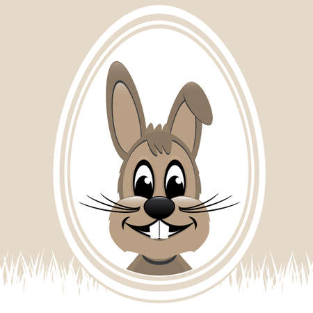 bunny ears: brown easter bunny white egg beige background Illustration