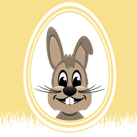 brown easter bunny white egg yellow background Vector