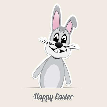 gray backgrund: gray easter bunny happy easter beige backgrund