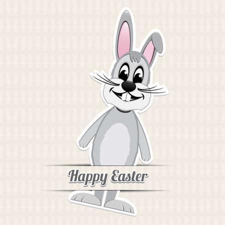 glued: gray easter bunny happy easter beige backgrund