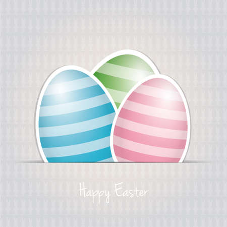 colorful white striped easter eggs card background Stock Vector - 18011875