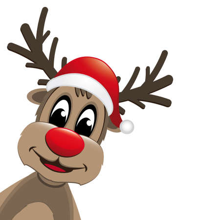 rudolph reindeer red nose and santa claus hat