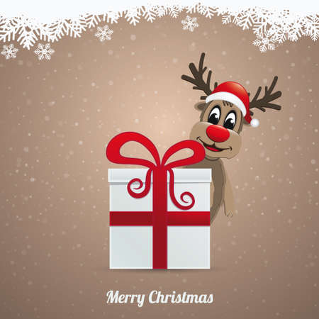 reindeer hat winter landscape behind gift box Vector