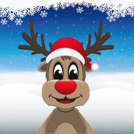 santa       hat: reindeer red nose santa hat winter landscape