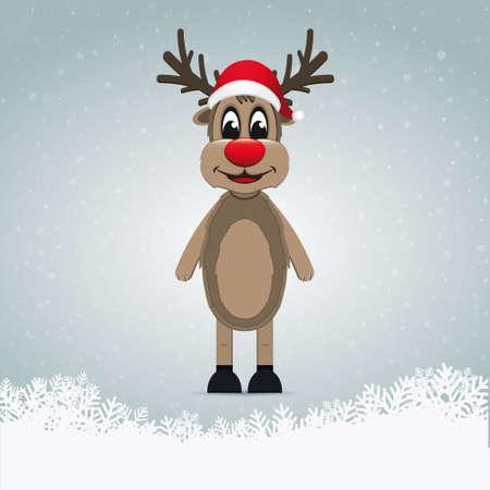 nariz roja: el reno de nariz roja de invierno paisaje de nieve Vectores