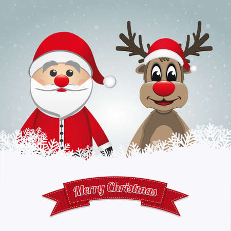 santa clause reindeer snow winter landscape Vector