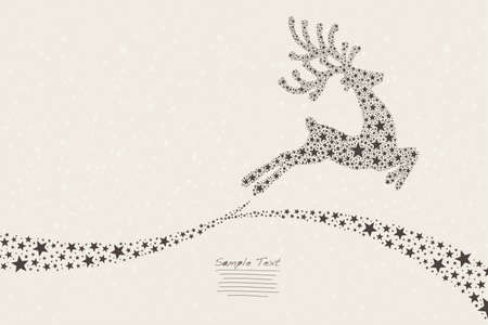 reindeer flying stars Illustration