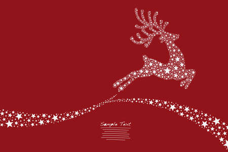 christmas stars: reindeer flying stars red background