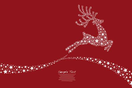 estrellas de navidad: renos voladores estrellas fondo rojo