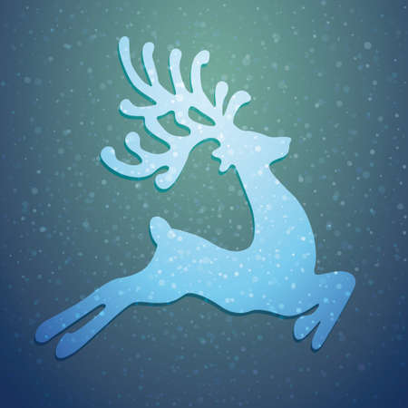 reindeer winter background stars and snow Vector