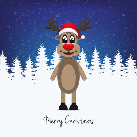 santa       hat: reindeer santa hat winter background