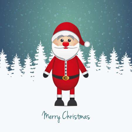 산타 클로스 겨울 눈 풍경 일러스트