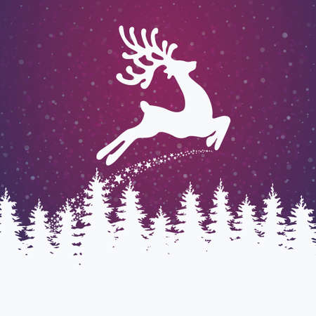 reindeer winter illustration stars and snow Illustration
