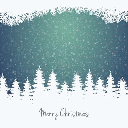 冬のイラストの森星と雪